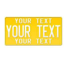 US Yellow License Plate...